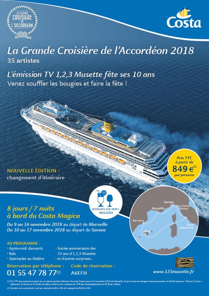 Réservez vos cabines pour la Grande Croisière de l'Accordéon 2018