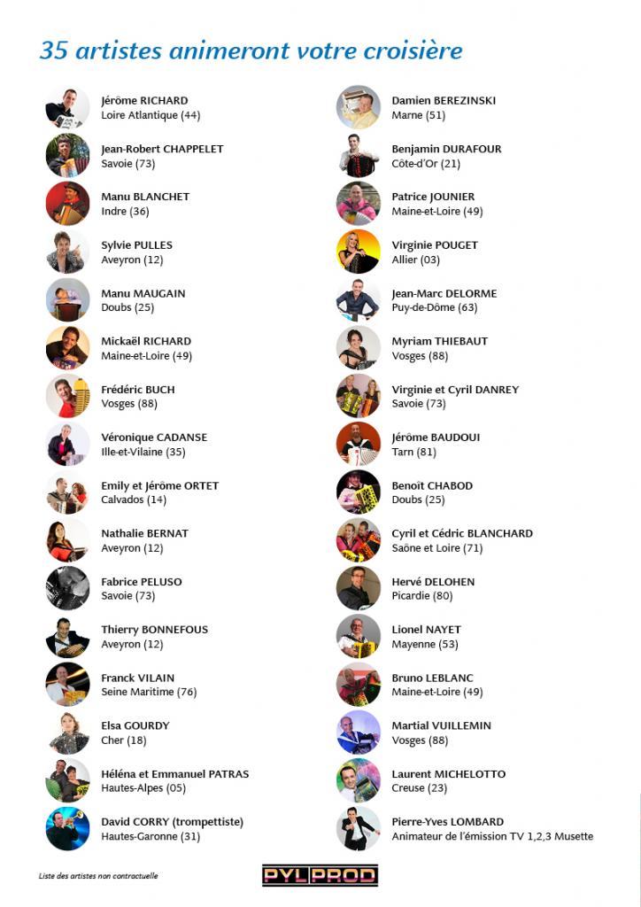 35 artistes animeront votre croisière