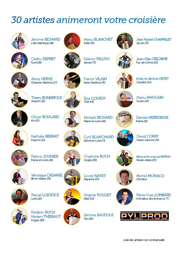 30 artistes animeront votre croisière
