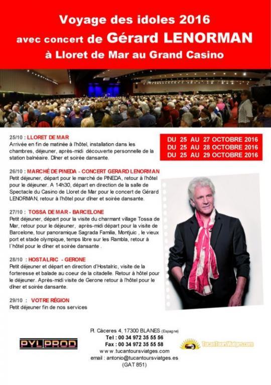 Archive : Voyage avec Concert de Gérard LENORMAN (octobre 2016)