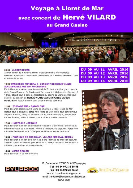 Archive : Voyage avec Concert de Hervé VILARD (avril 2016)