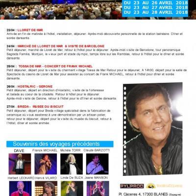 Archive : Voyage avec concert de Frank MICHAEL (Costa Brava - avril 2018)